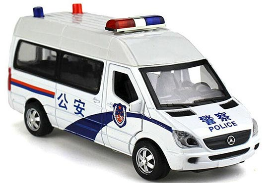 White-Blue 1:32 Diecast Mercedes-Benz Sprinter Police Van Toy