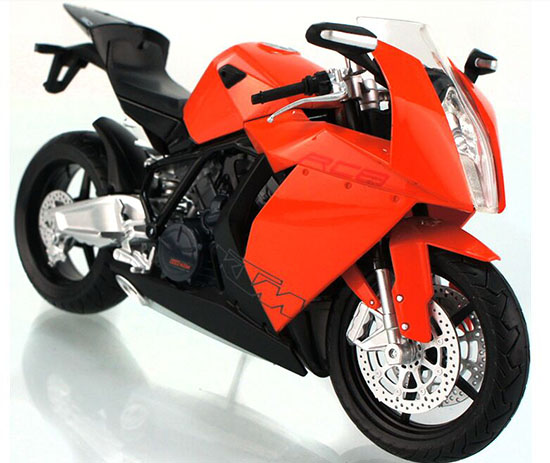 1:12 Scale Kids Red / White / Orange KTM RC8 Motorcycle Toy