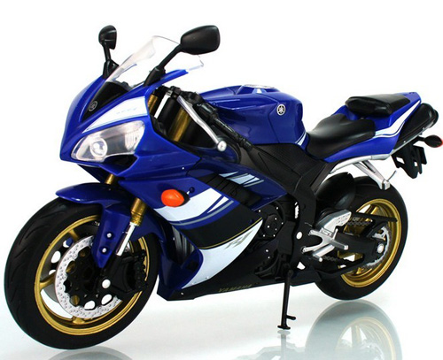 1:10 Scale Black / Blue Kids Welly Yamaha YZF R1 Motorcycle Toy