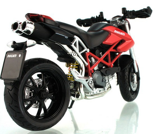 1:12 Scale Red / Black / White Ducati Hypermotard Motorcycle Toy