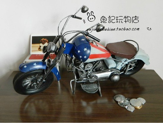 Large Scale Blue-White Tinplate Harley-Davidson Motorcycle Model
