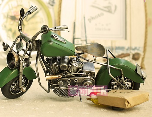 Medium Scale Red / Blue / Green /Brown Tinplate Motorcycle Model