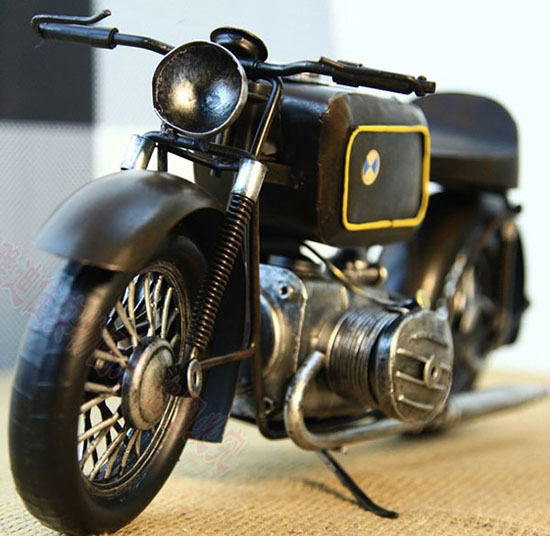 Black Large Scale Tinplate BMW Motorcycle Model
