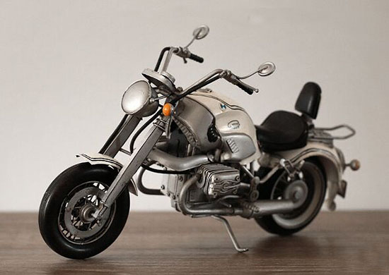 Large Scale Silver Tinplate BMW R1200C Motorcycle Model