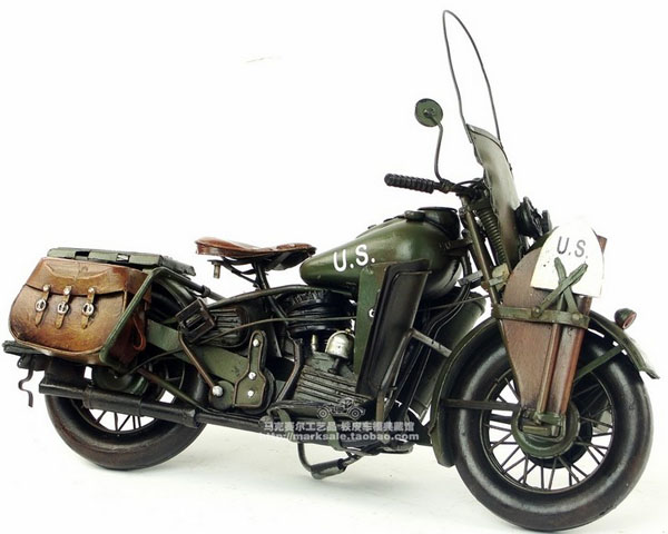 Medium Army Green Tinplate Vintage 1942 Harley Davidson WLA