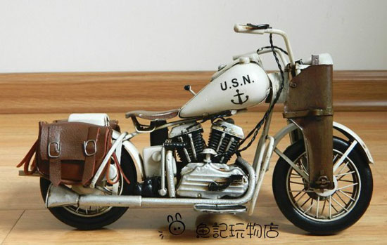 White Medium Scale Tinplate Vintage U.S.N Harley Davidson Model