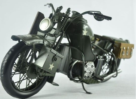 Army Green Large Tinplate Vintage 1943 Harley Davidson WLA Model