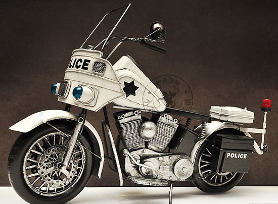 White Large Scale Tinplate 1940s Harley Davidson Police Model