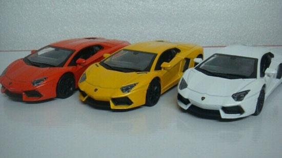 Kids 1:32 White / Red / Yellow Diecast Lamborghini LP700-4 Toy
