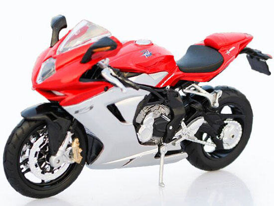 Red 1:12 Scale MaiSto Diecast MV Agusta F3 Motorcycle Model