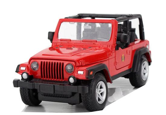 1 24 Scale Kids Red No Car Roof Diecast Jeep Wrangler Toy