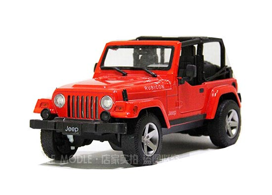 Red Green 1 16 No Car Roof Diecast Jeep Wrangler Rubicon