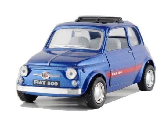 Blue 1:36 Scale Pull-Back Function Diecast FIAT 500 Toy