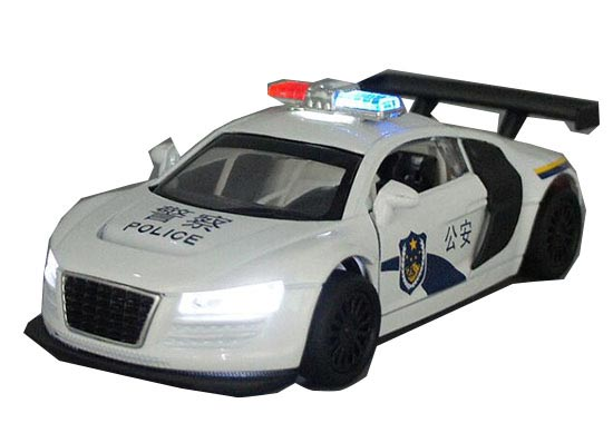 White Kids 1:32 Scale Police Theme Diecast Audi R8 Toy