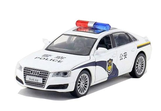 Kids White 1:32 Scale Police Theme Diecast Audi A8 Toy