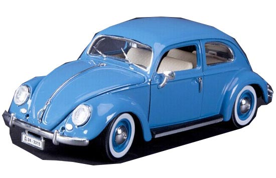 White / Blue / Green 1:18 Bburago Diecast 1955 VW Beetle Model