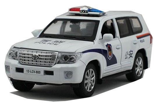 White Kids 1:32 Scale Police Diecast Toyota Land Cruiser Toy