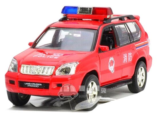 Kid Red 1:32 Scale Fire Engine Diecast Toyota Land Cruiser Prado