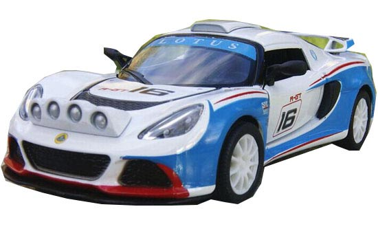 White-Blue 1:36 Scale Kids Diecast Lotus Exige R-GT Toy