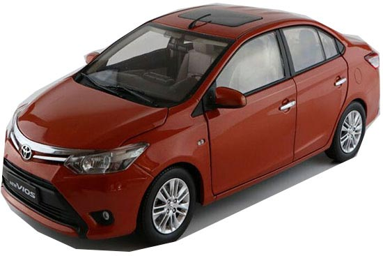 Red / Orange 1:18 Scale Diecast 2013 Toyota New VIOS Model