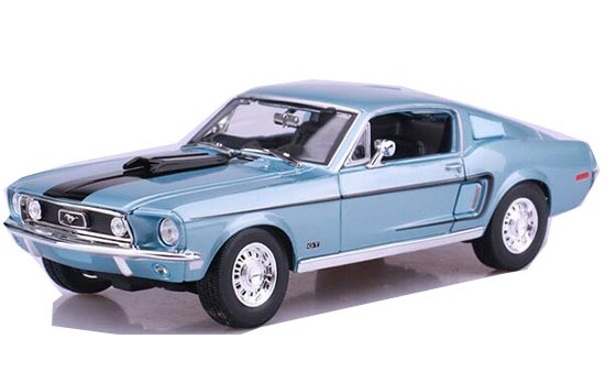 1:18 Blue/ White Diecast 1968 Ford Mustang GT Cobra Jet Model