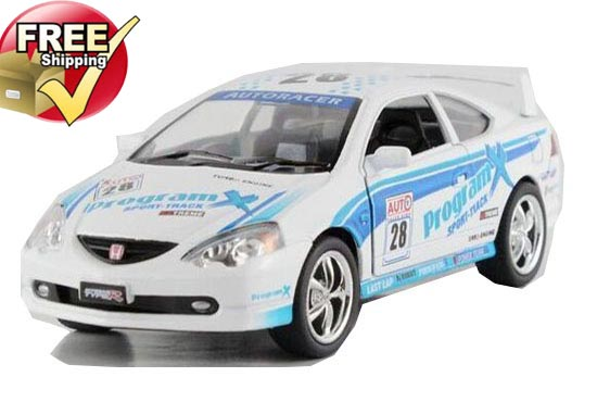 White 1:36 Scale WRC Diecast Honda Integra Toy