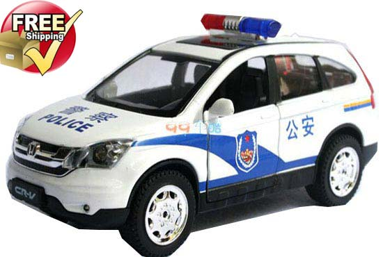 Kids 1:32 Scale White / Black Police Diecast Honda CR-V Toy