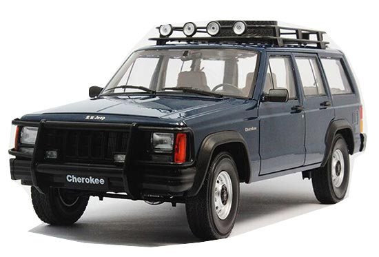 White / Blue 1:18 Scale Diecast Jeep Cherokee Model