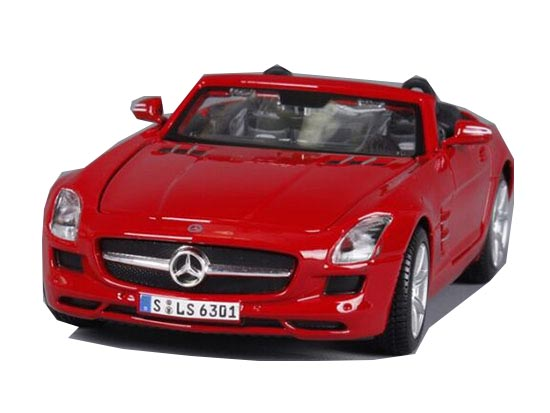 Silver / Red / White 1:24 Diecast Mercedes-Benz SLS AMG Model