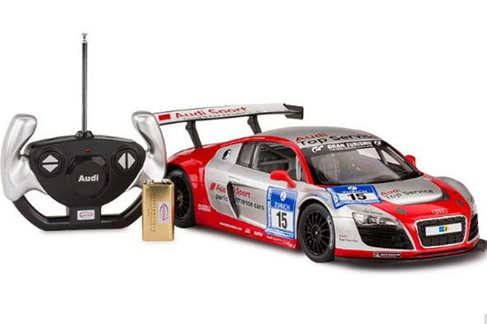 Kids 1:14 Scale White /Silver Full Functions R/C Audi R8 LMS Toy