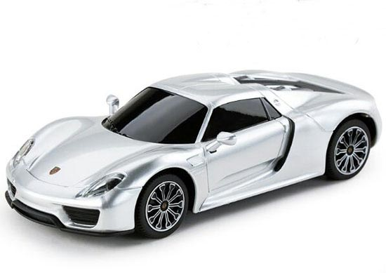 Kids 1:24 Scale Silver / Yellow R/C Porsche 918 Spyder Toy
