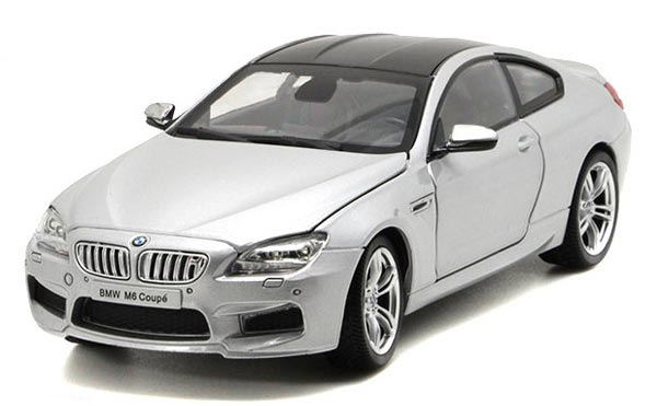 1:24 Scale Silver / White / Blue Diecast BMW M6 Coupe Model