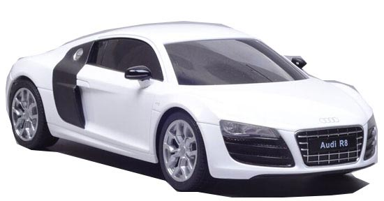 White / Red Welly 1:24 Scale Full Functions R/C Audi R8 Toy