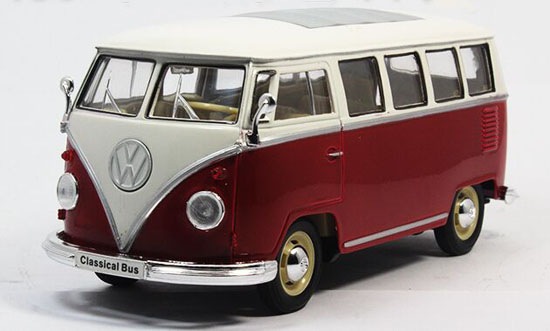 Red-White Welly 1:24 Scale Die-Cast 1963 VW T1 Bus Model