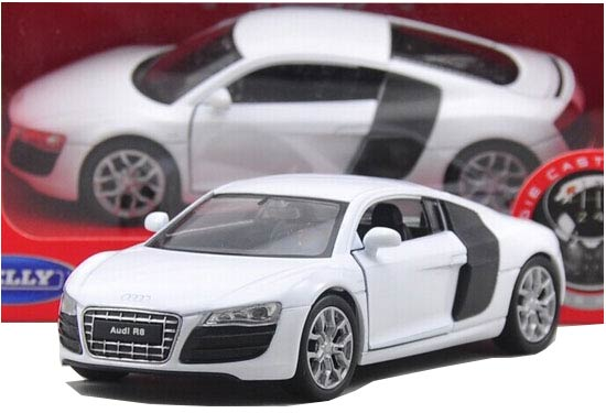 White 1:36 Scale Welly Diecast Audi R8 Toy