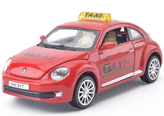 Yellow / White / Red / Black 1:28 Diecast VW Beetle Taxi Toy