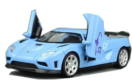 Kids 1:32 Scale White / Blue / Orange Diecast Koenigsegg Toy