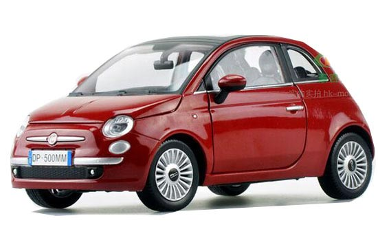 1:24 Scale Red Motorama Diecast Fiat 500 Model