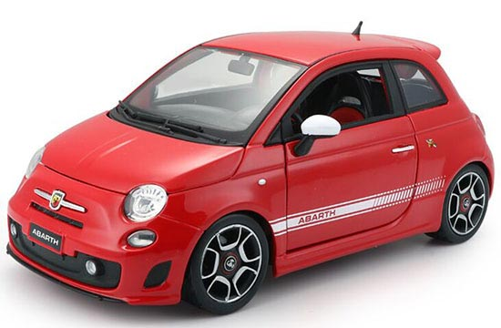 Black / Red 1:18 Scale Bburago Diecast Fiat ABARTH 500 Model