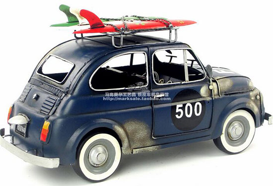 Blue Medium Scale Handmade Tinplate 1965 Fiat 500 Model