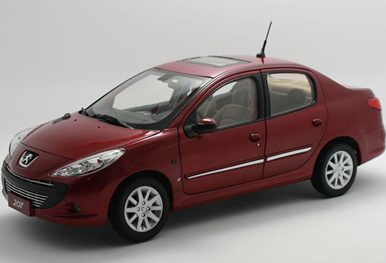 Red 1:18 Scale Diecast Peugeot 207 Model