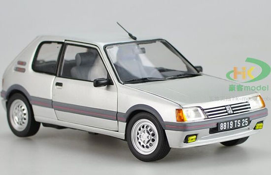 Silver 1:18 Scale NOREV Diecast 1991 Peugeot 205 GTI Model