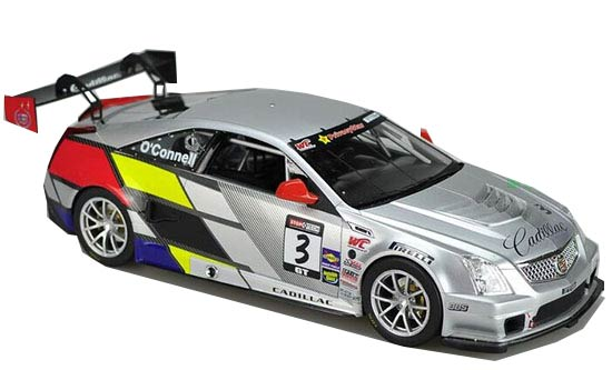Silver 1:18 Rally Racing Theme Diecast Cadillac CTS Model
