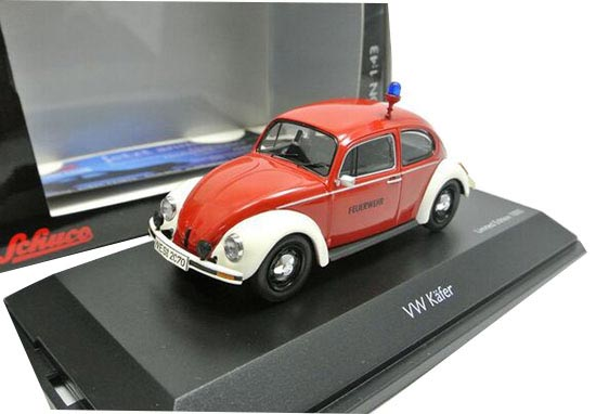 Red 1:43 Scale Schuco Fire Engine Diecast VW Beetle Model