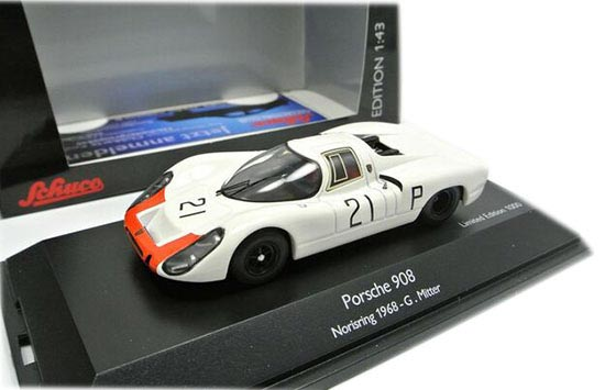 White 1:43 Scale Schuco Die-Cast Porsche 908 Model
