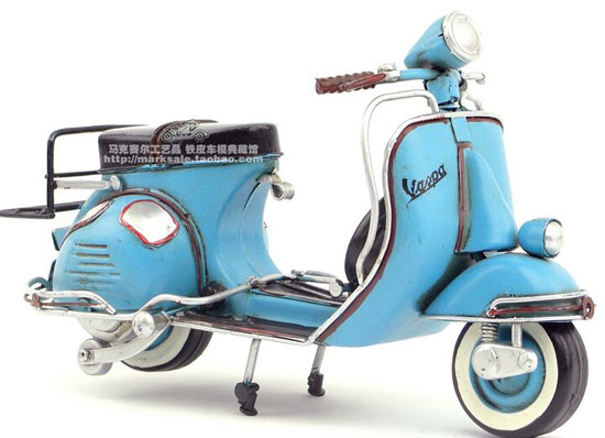 Blue Handmade 9.05 Inch Tinplate 1965 Vespa Scooter Model