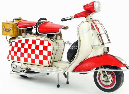 Red-White Handmade Tinplate 1965 Vespa Scooter With Basket