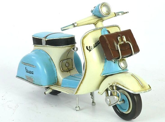 Blue-White Handmade Tinplate Vespa Scooter With Briefcase