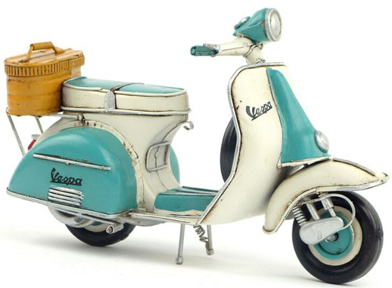 Tinplate Blue-White Handmade Retro 1965 Vespa Scooter Model