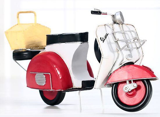 Large Scale Handmade Red Retro Tinplate Vespa Scooter Model